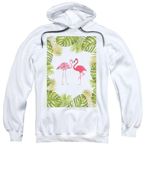 Magical Tropicana Love Flamingos And Leaves Sweatshirt