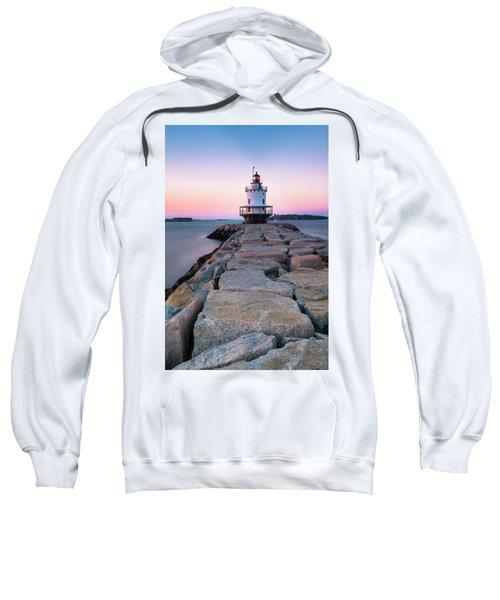 Maine Coastal Sunset Over The Spring Breakwater Lighthouse Sweatshirt