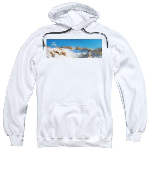 Maine Snow Dunes On Coast In Winter Panorama Sweatshirt