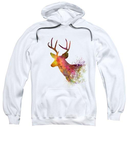 Male Deer 02 In Watercolor Sweatshirt by Pablo Romero