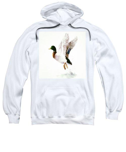 Mallard Flying Away Watercolor Sweatshirt