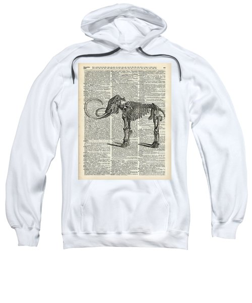 Mammoth Elephant Bones Over A Antique Dictionary Book Page Sweatshirt