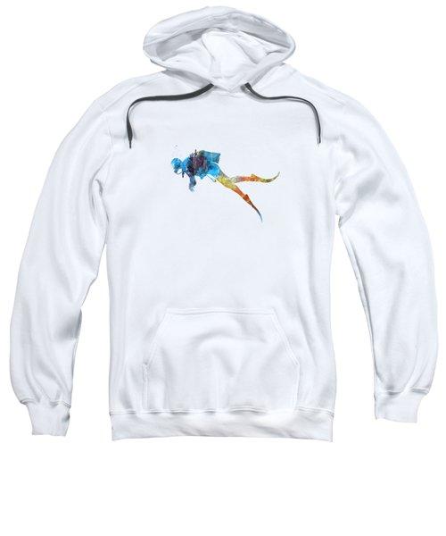Man Scuba Diver 01 In Watercolor Sweatshirt