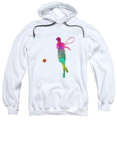 Man Tennis Player 01 In Watercolor Sweatshirt by Pablo Romero