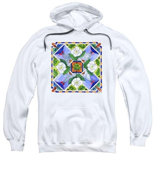 Mandala IIi - White Hibiscus Sweatshirt