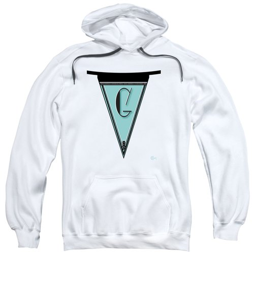 Pennant Deco Blues Banner Initial Letter G Sweatshirt by Cecely Bloom