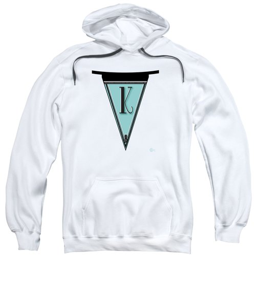 Pennant Deco Blues Banner Initial Letter K Sweatshirt by Cecely Bloom