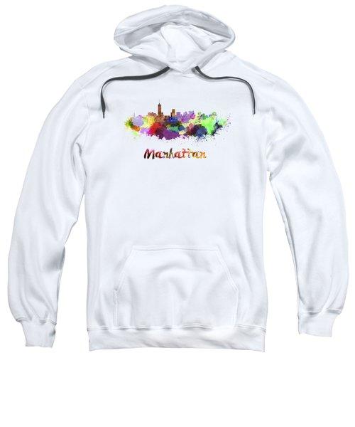 Manhattan Skyline In Watercolor Sweatshirt