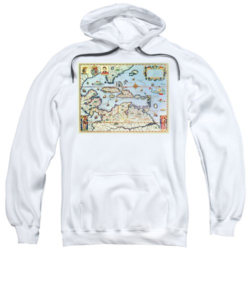 Map Of The Caribbean Islands And The American State Of Florida  Sweatshirt
