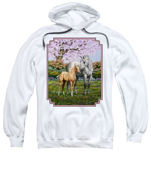 Mare And Foal Pillow Pink Sweatshirt by Crista Forest