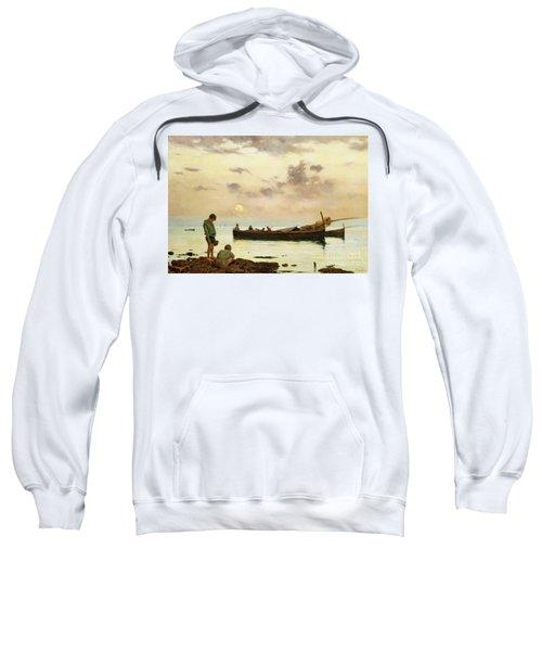Marina With A Fishing Boat And Boys Sweatshirt