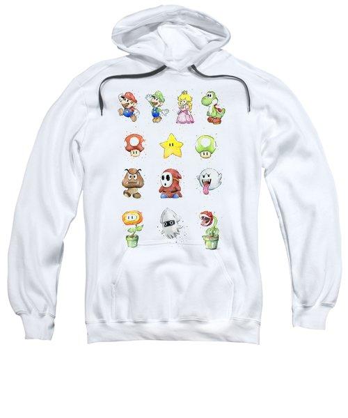 Mario Characters In Watercolor Sweatshirt by Olga Shvartsur
