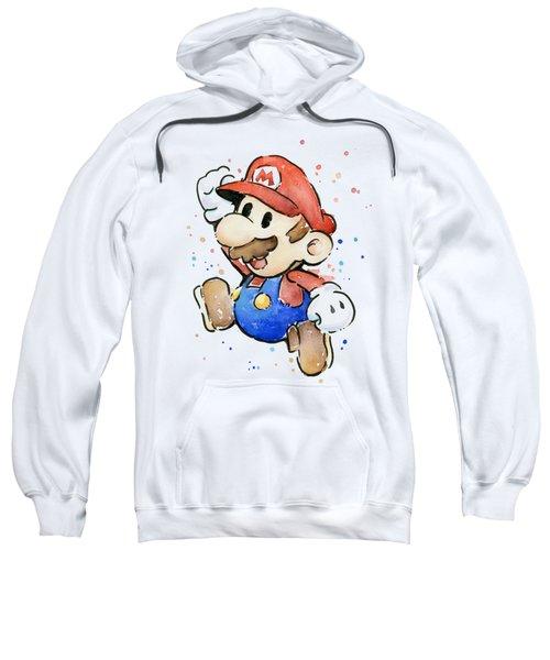 Mario Watercolor Fan Art Sweatshirt by Olga Shvartsur