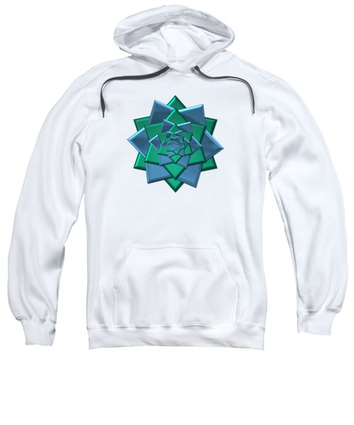 Metallic Blue And Green 3-d Look Gift Bow Sweatshirt