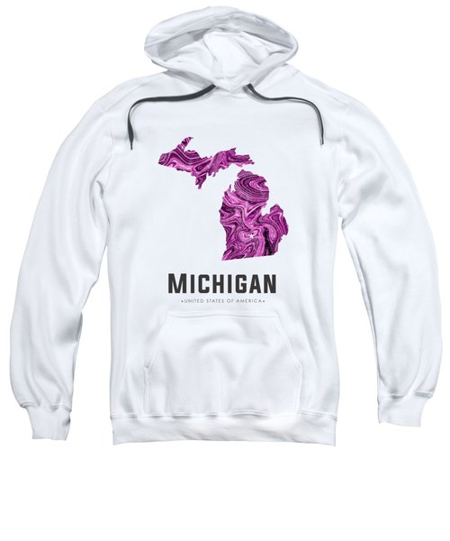 Michigan Map Art Abstract In Purple Sweatshirt