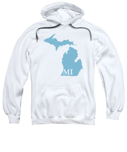 Michigan State Map With Text Of Constitution Sweatshirt