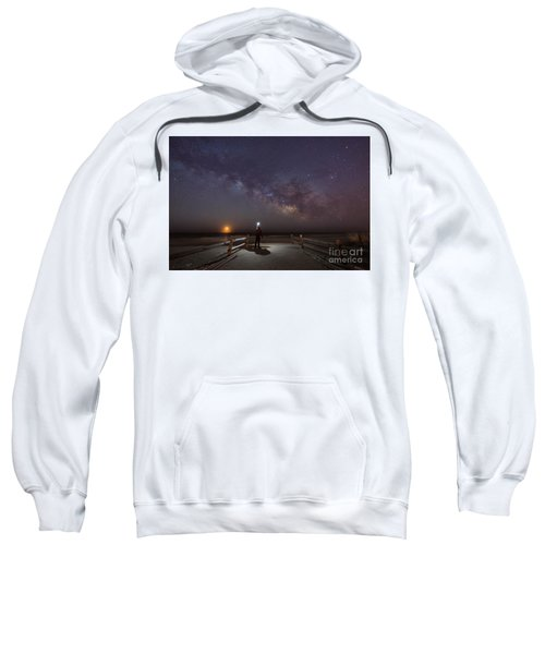 Midnight Explorer Moonrise Milky Way At The Jersey Shore Sweatshirt