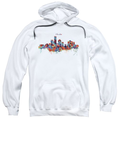 Milwaukee Watercolor Skyline Sweatshirt by Marian Voicu
