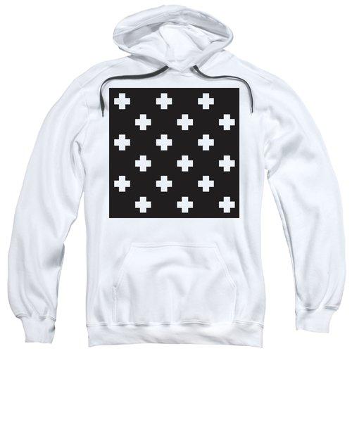 Minimalist Swiss Cross Pattern - Black, White 01 Sweatshirt