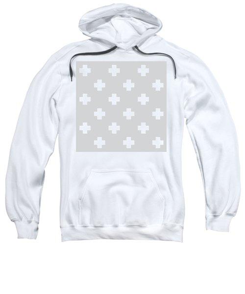 Minimalist Swiss Cross Pattern - Grey, White 01 Sweatshirt