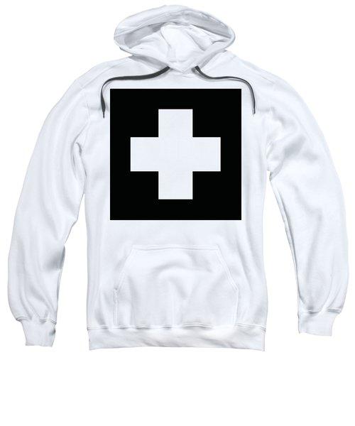 Minimalist Swiss Cross Pattern - White On Black Sweatshirt