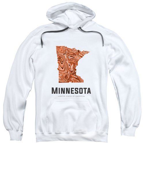 Minnesota Map Art Abstract In Brown Sweatshirt