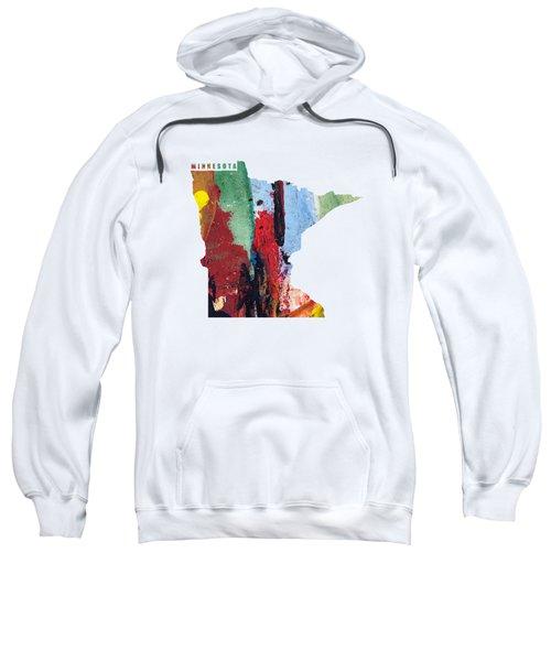 Minnesota Map Art - Painted Map Of Minnesota Sweatshirt
