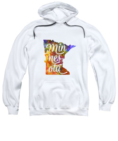 Minnesota Us State In Watercolor Text Cut Out Sweatshirt