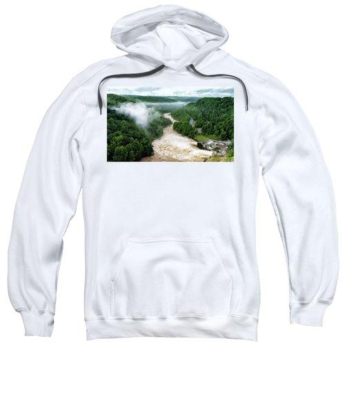 Misty Morning At Summersville Lake Dam Sweatshirt
