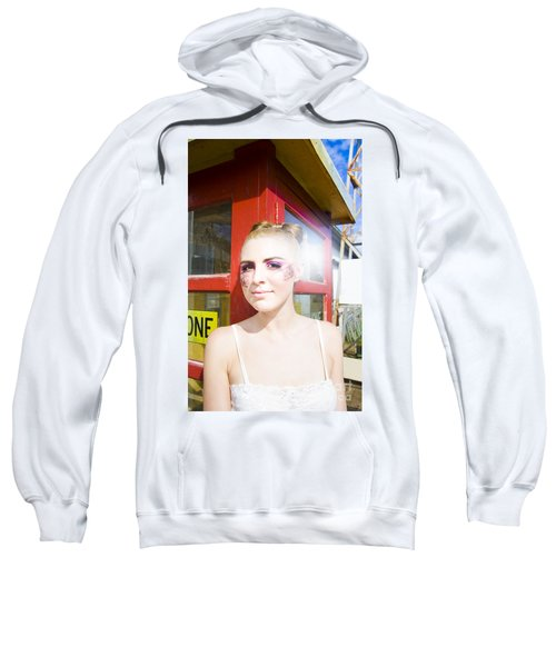 Model In Lace Makeup Sweatshirt
