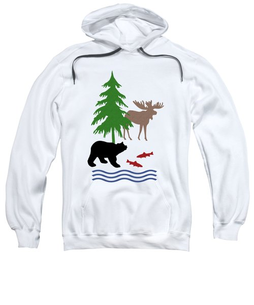 Moose And Bear Pattern Art Sweatshirt by Christina Rollo