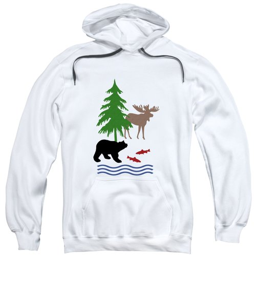 Sweatshirt featuring the mixed media Moose And Bear Pattern by Christina Rollo