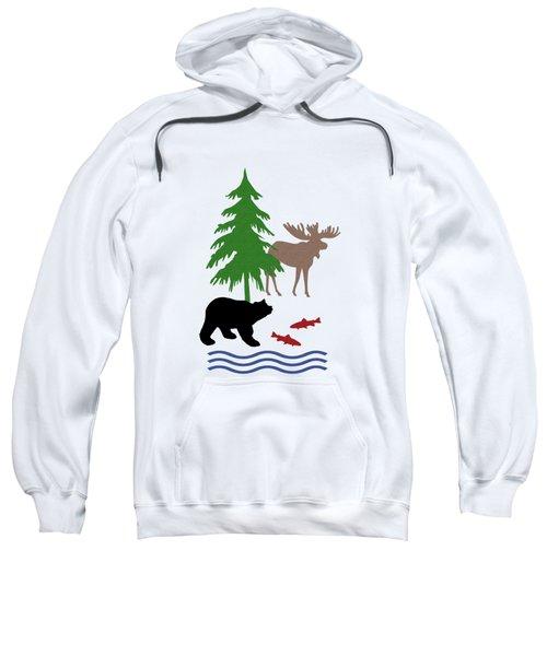Moose And Bear Pattern Sweatshirt