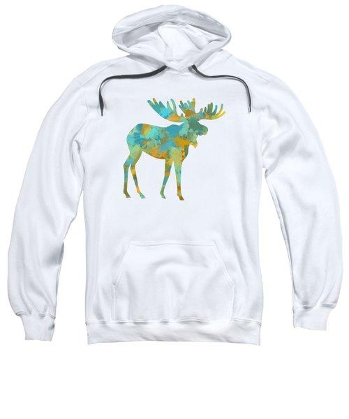 Moose Watercolor Art Sweatshirt