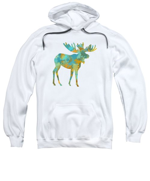 Moose Watercolor Art Sweatshirt