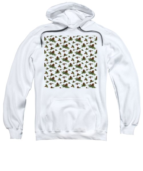 Mountain Lodge Cabin In The Forest - Home Decor Pine Cones Sweatshirt by Audrey Jeanne Roberts