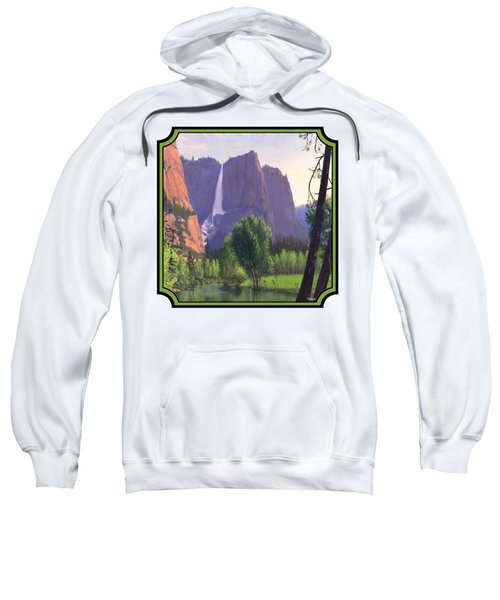 Mountains Waterfall Stream Western Landscape - Square Format Sweatshirt