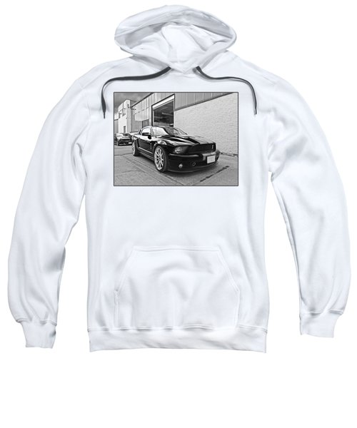 Mustang Alley In Black And White Sweatshirt by Gill Billington