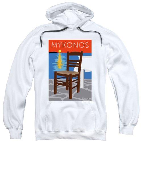 Sweatshirt featuring the digital art Mykonos Empty Chair - Orange by Sam Brennan