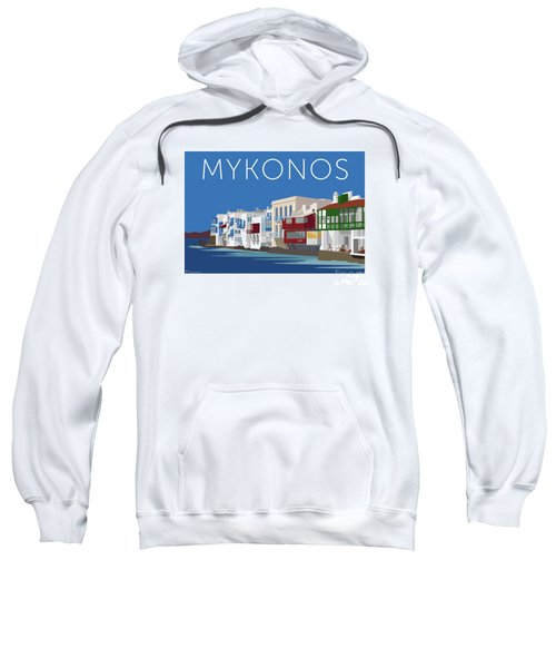 Sweatshirt featuring the digital art Mykonos Little Venice - Blue by Sam Brennan
