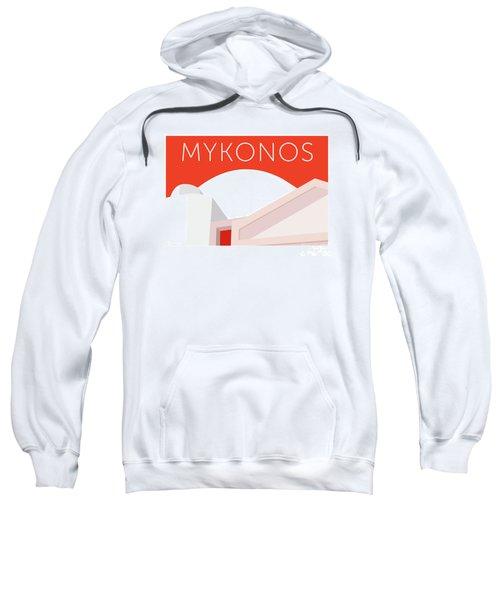 Sweatshirt featuring the digital art Mykonos Walls - Orange by Sam Brennan