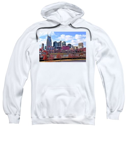 Nashville On The Riverfront Sweatshirt by Frozen in Time Fine Art Photography