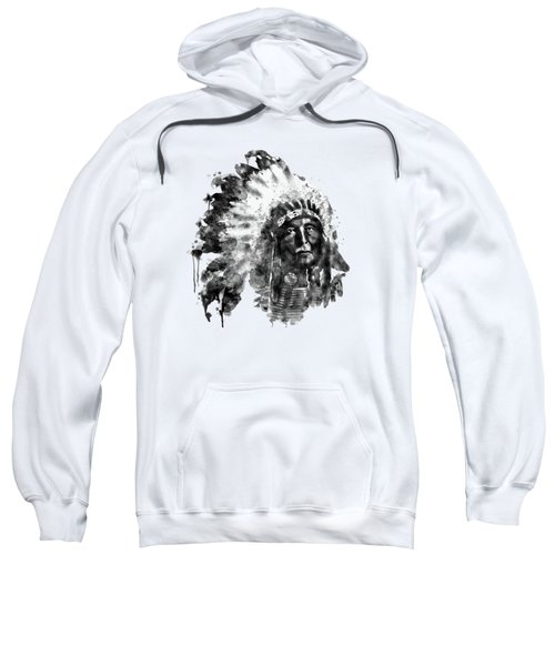Native American Chief Black And White Sweatshirt