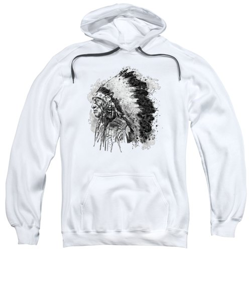 Native American Chief Side Face Black And White Sweatshirt