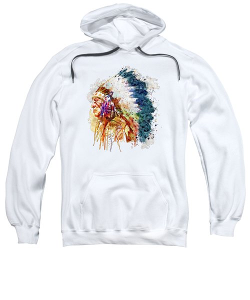 Native American Chief Side Face Sweatshirt by Marian Voicu