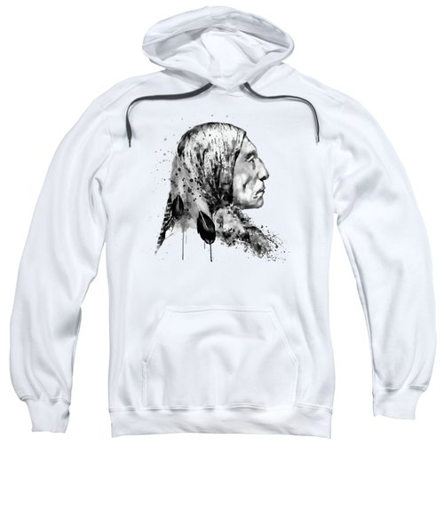 Native American Side Face Black And White Sweatshirt