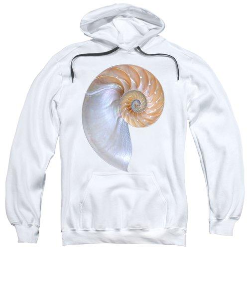 Natural Nautilus On White Vertical Sweatshirt