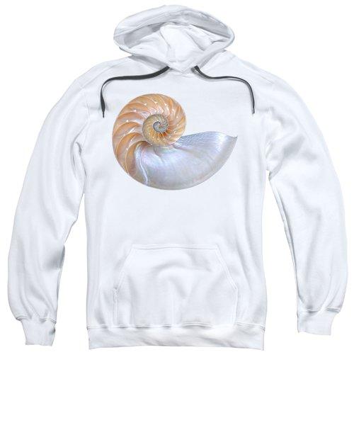Natural Nautilus Seashell On White Sweatshirt