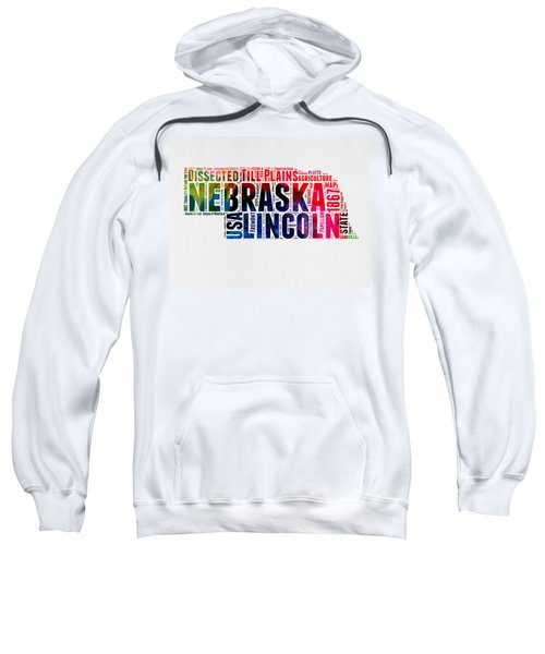 Nebraska Watercolor Word Cloud  Sweatshirt