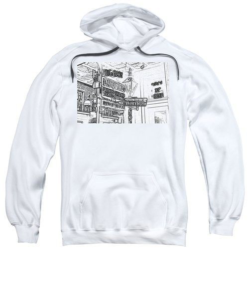 Neon Sign On Bourbon Street Corner French Quarter New Orleans Black And White Photocopy Digital Art Sweatshirt